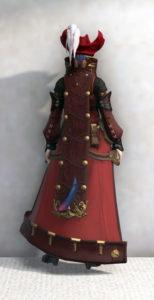 スカラキャスター・ジャケットでジェヴォーダンの獣っぽいミコッテ赤魔ミラプリ・背面