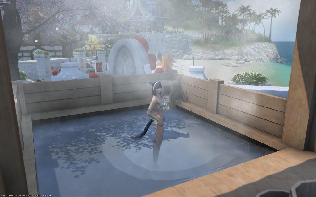 白銀温泉で海が見える絶景露天風呂的なものを目指してみましたが~新生FF14パッチ4.2ハウジング7