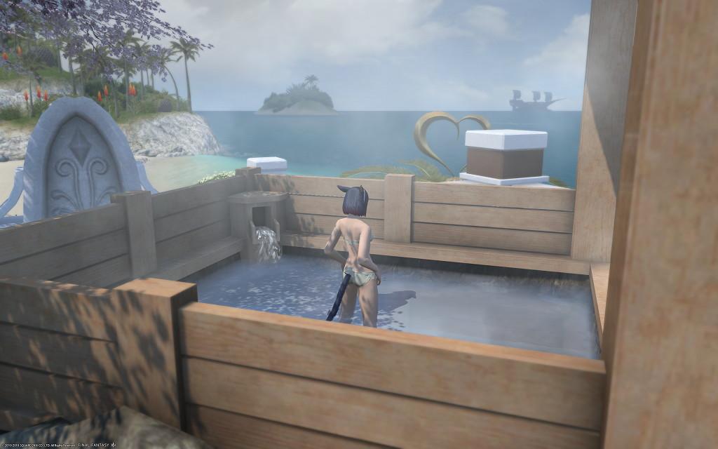 白銀温泉で海が見える絶景露天風呂的なものを目指してみましたが~新生FF14パッチ4.2ハウジング2