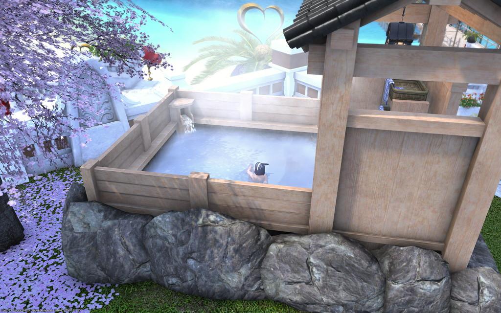 白銀温泉で海が見える絶景露天風呂的なものを目指してみましたが~新生FF14パッチ4.2ハウジング6
