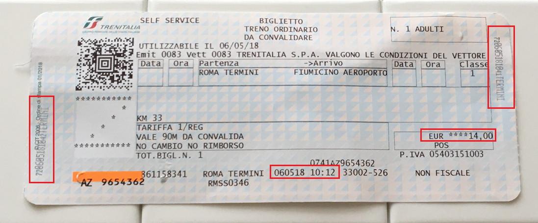 イタリアの特急・レオナルド・エクスプレスの切符