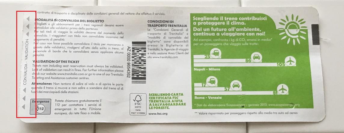 イタリアの特急・レオナルド・エクスプレスの切符裏面