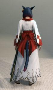 プリンセス・ロングスカートと紅染姫君浴衣でファッション侍のミラプリ・背面