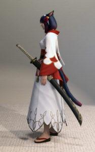 プリンセス・ロングスカートと紅染姫君浴衣でファッション侍のミラプリ・左