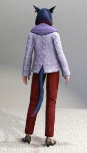 アドべンチャラーセーターとベストマンスラックスできれいめ秋コーデ・背面