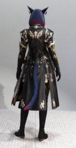 レプリカ・アラガンキャスターチュニックとプリンセスドレスグローブで悪の帝国魔術師風ミラプリ・背面