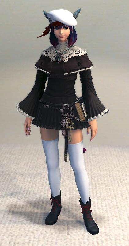 ハードカバー本はファッションの一部です?地味なフッブート・キャスターチュニックをなんとか可愛くしてみる~新生FF14召喚士ミラプリ4