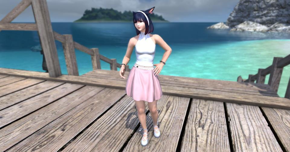 アイキャッチ・パッチ5.3で追加されたシンプルなフレアミニスカート「サザンシースカート」が使いやすくてイイ感じ