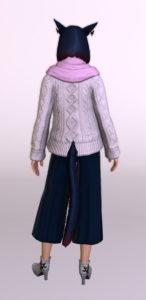 古代ローマ人風ダルマスカン・ドレープパンツにアドベンチャラー・セーターを合わせて秋冬向けコーデにしてみる背面