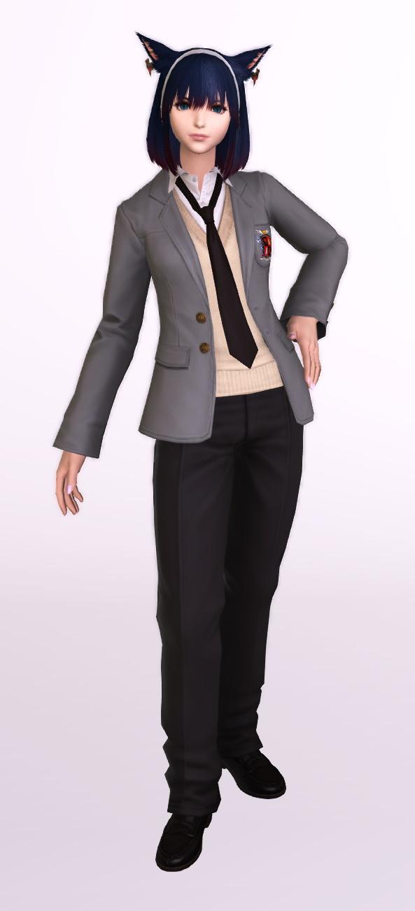 課金制服・男子版(カレッジブレザー:ネクタイ)を使ったミラプリ1