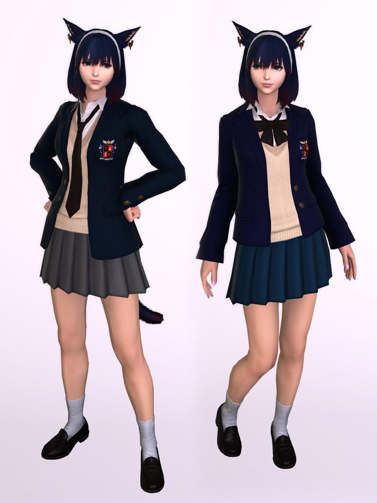課金制服・男子版(カレッジブレザー:ネクタイ)を使ったミラプリ2
