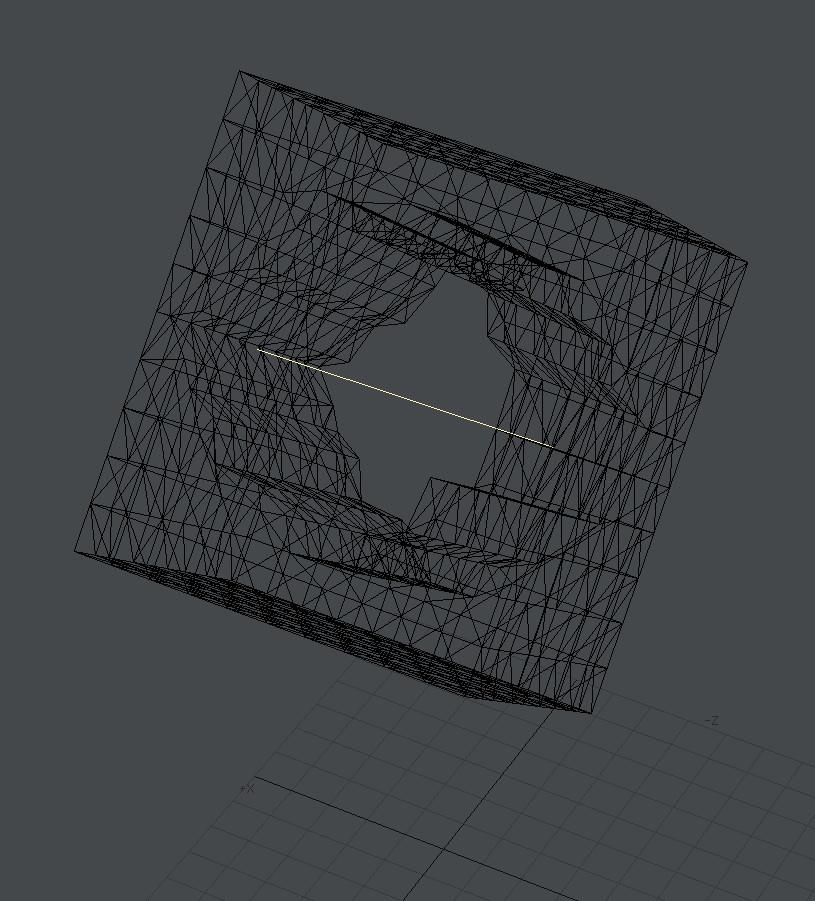自作Lightwave用スクリプト:AxisOffset~背景の直線を軸にして前景の頂点にオフセットを加える2