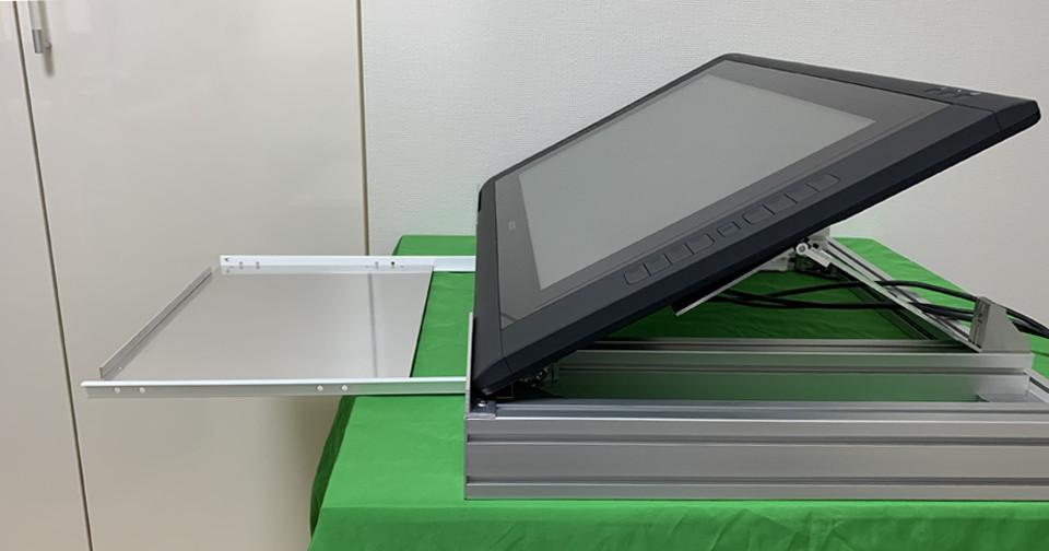 アイキャッチ・アルミフレームとスライドレールでキーボードと共存するタブレット台を作ってみた